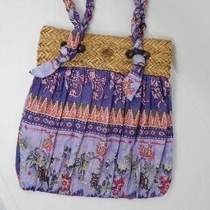 Capelli BOHO Straw and fabric shoulder bag Purples